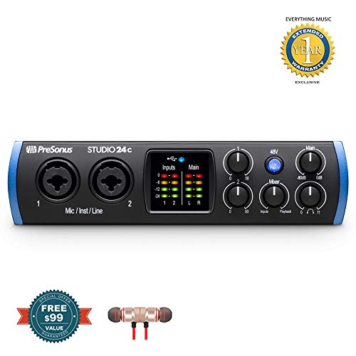 (PreSonus Studio 24c 2x2 USB Type-C Audio/MIDI Interface includes Free Wireless Earbuds - Stereo Bluetooth In-ear and 1 Year EverythingMusc Extended Warranty)