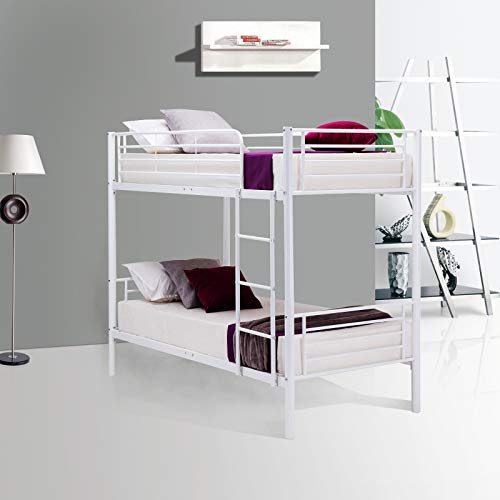 Mecor Twin Metal Bunk Beds-Twin Over Twin Bunk Bed Frame-for Kids/Teens/Adults/Children-Bedroom Furniture with Ladder,Undetachable/White