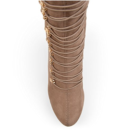 The Knee Brinley Vintage Almond and Wide Boots Co Toe Calf Regular Taupe Womens Over RRvqP