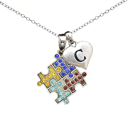 Autism Necklace with Initials (N, One (Autism Awareness Jewelry)