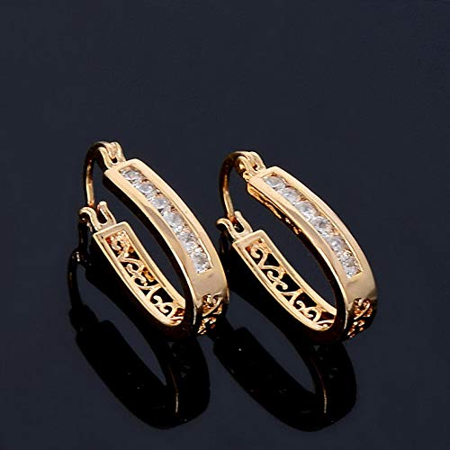 Dokis 1 Pair Exiquite Crystal CZ Vintage Hollow Design 18K Gold Plated Amzing Earrings | Model ERRNGS - 3342 |
