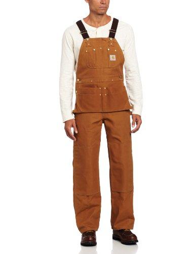 Carhartt Mens Overalls - Carhartt Men's Duck Carpenter Bib Overalls Unlined,Carhartt Brown,36 x 32