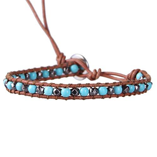 KELITCH Created Turquoise Gun Black Mix Beaded Single Wrap Bracelet on Brown Leather Handwoven New Charm Jewelry (Metal ()