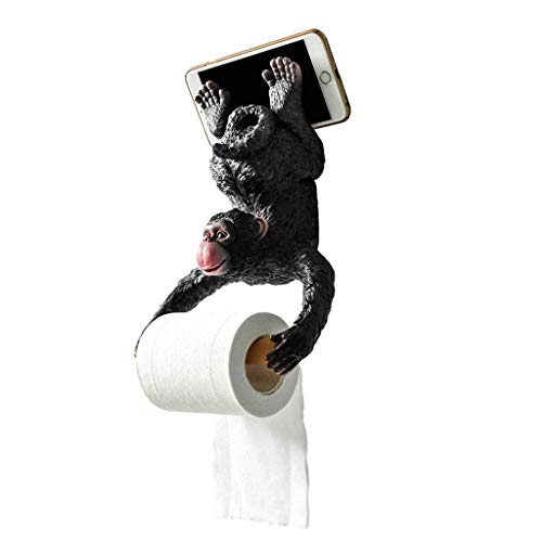 Zhahender Freestanding Toilet Paper Holder Toilet Roll Holders Wall Mounted,Kitchen Paper Towel Holder with Mobile Phone Storage Shelf,Small Monkey, Black