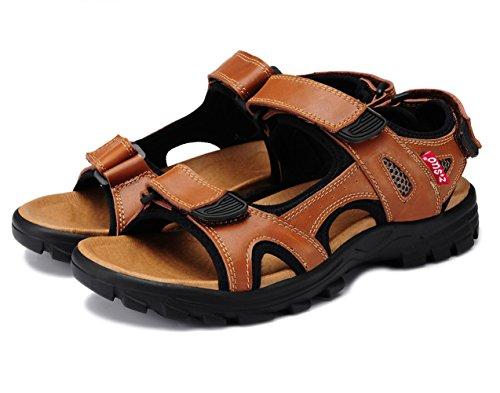 Velcro Sandal Brown DQQ Leather Strap Men's v8FnqH