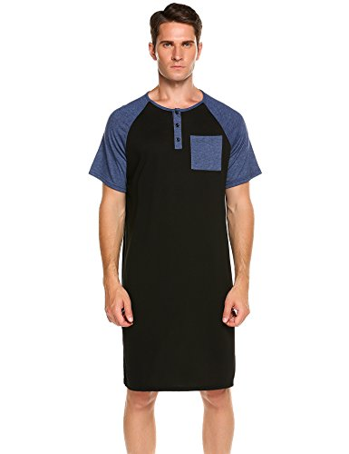 Ekouaer Men's Nightshirt Cotton Nightwear Comfy Big&Tall Short Sleeve Henley Sleep Shirt (C-Black, XXX-Large) by Ekouaer