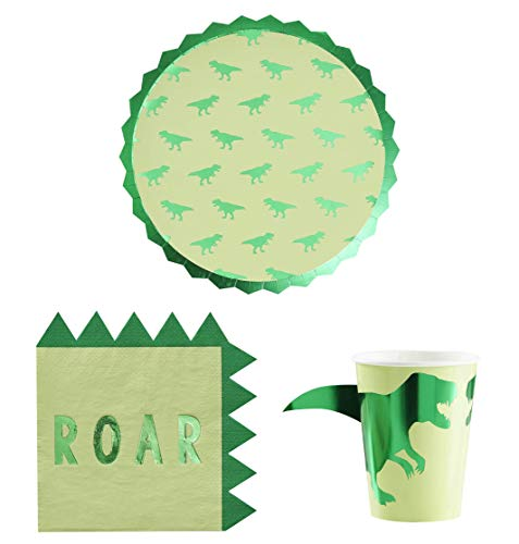 Ginger Ray Dinosaur Birthday Party Supplies and Decorations - Dino Paper Plates, Cups and Napkins -