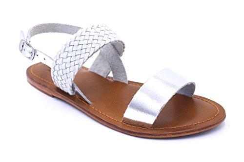 Inuovo - Sandalias de vestir de Piel para mujer plateado
