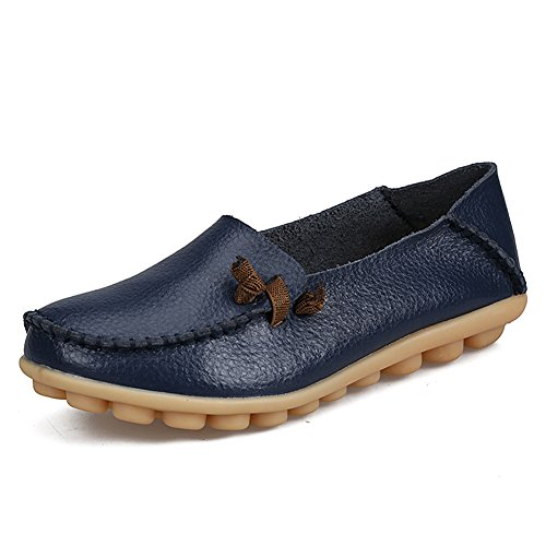 fereshte Womens Fashion Genuine Leather Loafers Casual Slip-on Soft-soled Flat Shoes for Driving Shopping Dark Blue MyCwH