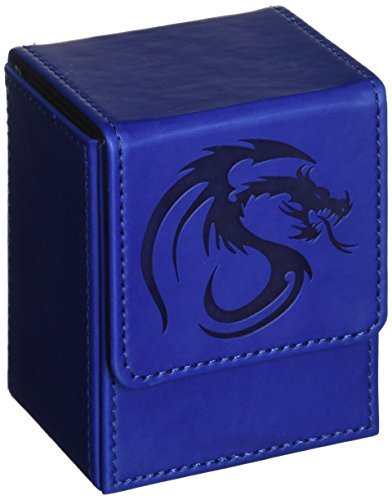 BCW Leatherette BLUE Deck Case LX Flip Box With Magnetic Closure for Collectable Gaming Cards, Magic the Gathering MTG, Pokemon, Yugioh, & More. Embossed Dragon Graphic, Designed to Hold 80 Sleeved Ca