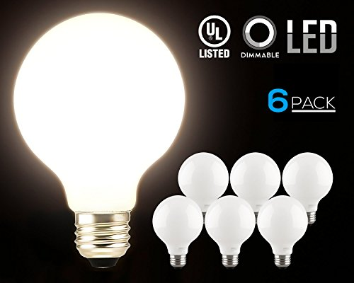 Globe Compact Fluorescent Light Bulb - TORCHSTAR LED Dimmable G25 Globe Light Bulbs, 5W (60W Equiv.), 360° Glowing Frosted Glass Lens for Decorative, 2700K Soft White Ambiance Pro, Incandescent Replacement, Pack of 6