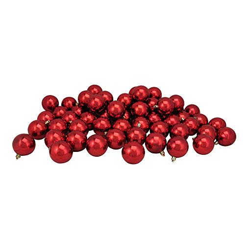 Northlight 60ct Red Hot Shatterproof Shiny Christmas Ball Ornaments 2.5