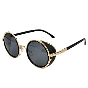 Ucspai Classic Sidestreet Crosswalk Sidecups Steampunk Sunglasses Gold&black Frame