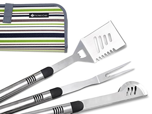 Figtree-Chef BBQ Tools Set with Case | Heavy Duty Grilling Utensils | Includes Spatula Fork And Tongs | Ideal Accessory For Your Weber Charbroil Porcelain or Infrared Grill and Perfect Gift Idea (Bbq Utensils Long)