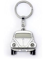 Brisa VW Collection – Volkswagen Classic Beetle samochodowy breloczek do kluczy z wytłoczoną puszką prezentową, pomysł na prezent / pamiątka dla fanów / produkt retro vintage (biały/emaliowany/chrom)