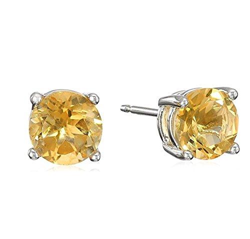 November Birthstone Earrings (Surgical Stainless Steel Studs Earrings Little Girl - Women - Men Round 5MM Birthstone Cubic Zirconia Hypoallergenic Earrings)