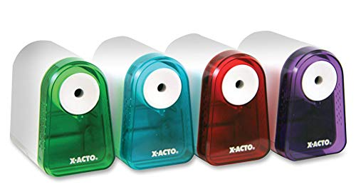X-ACTO 2012686 Mighty Mite Battery Pencil Sharpener, Prevents Over Sharpening, Assorted Colors