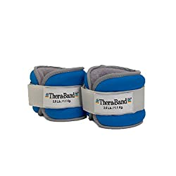 Theraband Comfort Fit Ankle & Wrist Cuff Wrap Walking Weight Set, Adjustable Wrist & Ankle Weights For Home Workout, Ankle Strengthening & Toning Workouts, Blue, 2.5 Lb. Each, Set Of 2, 5 Pounds