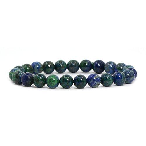 Amandastone Natural Lapis Chrysocolla Gemstone 8mm Round Beads Stretch Bracelet 7