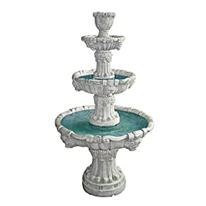 Water Fountain – Nearly 5 Foot Tall Medici Lion Four Tier Garden Decor Fountain: Antique Stone Finish – Outdoor Water…