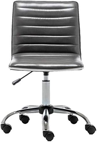 BTEXPERT Home Gray Swivel Mid Back Armless Ribbed Designer Task Faux Leather Soft Upholstery Office Chair