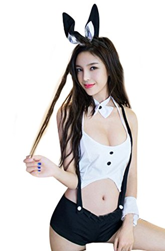 OYBY Bunny COSPLAY clothing bow backless Jumpsuit Underwear Set (Sexy Bunny Lingerie)