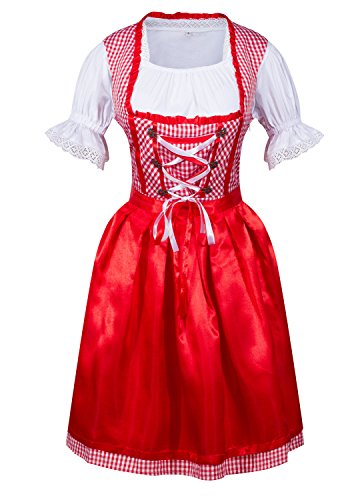 [DEARCASE Women's 3 Pcs Dirndl Serving Wench Bavarian Beer Girl Oktoberfest Adult Costume, Red, XL] (Dirndl Costume)