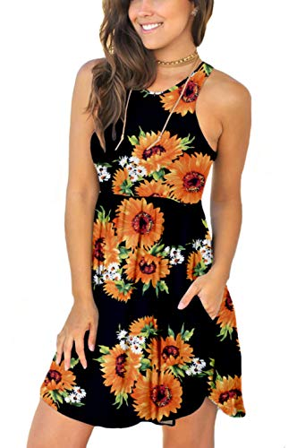 Women's Sleeveless Summer Floral Print Dresses Casual Short Dress with Pockets Floral Sunflower Black Small