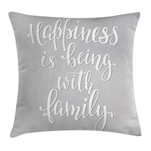 Ambesonne Family Throw Pillow Cushion Cover, Positive Family Themed Message Happiness Hand Writing Calligraphy Inspiration, Decorative Square Accent Pillow Case, 18