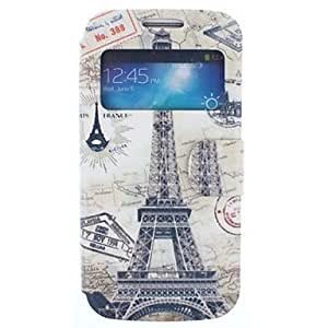 World Map and Eiffel Tower Pattern PU Leather Full Body Case for Samsung S4 Mini I9190