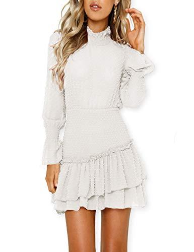Ruffle Dress Chiffon Neck (AOOKSMERY Women Autumn High Neck Empire Waist Long Puff Sleeve Backless Chiffon Ruffle Mini Dress)