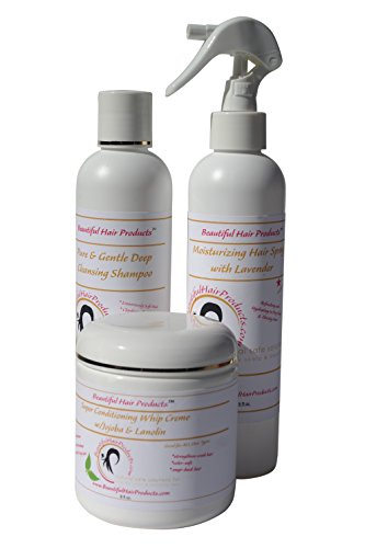 cts Pure & Gentle Deep Cleansing Shampoo PLUS Conditioning Whip Creme AND Moisturizing Hair Spray Trio Set - Men Women and Children Super Rich Sulfate-Free Hair Therapy ()