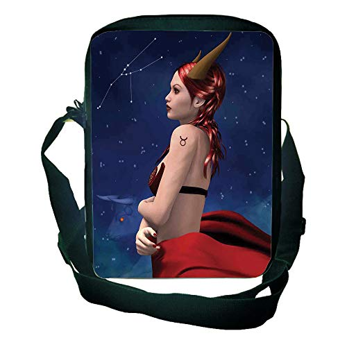 Personal Tailor One Shoulder Small Satchel Astrology,Taurus Girl with Horns Maleficent Zodiac Stars Venus Beauty Graphic Design Decorative,Navy Red Brown for Children,3D Print Design,9.4