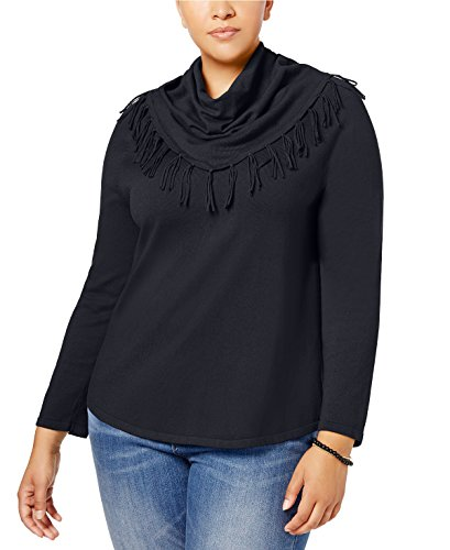 Style & Co. Plus Size Fringed Cowl-Neck Sweater (1X, Deep Black)