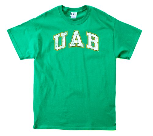 NCAA Alabama Birmingham Blazers 100-Percent Pre-Shrunk Vintage Arch Short Sleeve Tee, Large, Forest