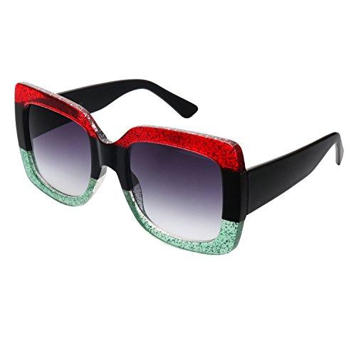7b5514bfbc Cramilo Oversized Square Sunglasses Multi Tinted Womens Thick Frame Sun  Glasses