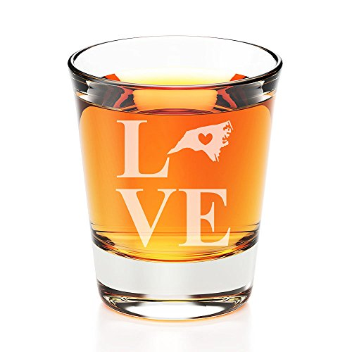 - Love State North Carolina Engraved Fluted Shot Glass - 4 PCS