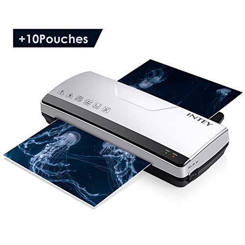 INTEY A4 Laminator, Thermal Laminator Machine with 2 Roller System Thermal Laminating and Cold Laminate for Quick Warm-up Speed Include 10 Laminating Sheets ()
