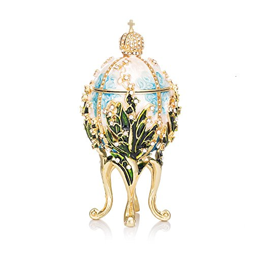 (QIFU-Hand Painted Enameled Faberge Egg Style Decorative Hinged Jewelry Trinket Box Unique Gift Home Decor)