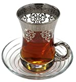 Ottoman Platinum Turkish Tea Glasses with Saucers Set (Set of 6) (Silver) 3 OZ