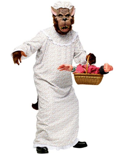 [Fun World Mens Big Bad Granny Wolf Halloween Party Costume Set White O/S] (Big Bad Wolf Outfit)