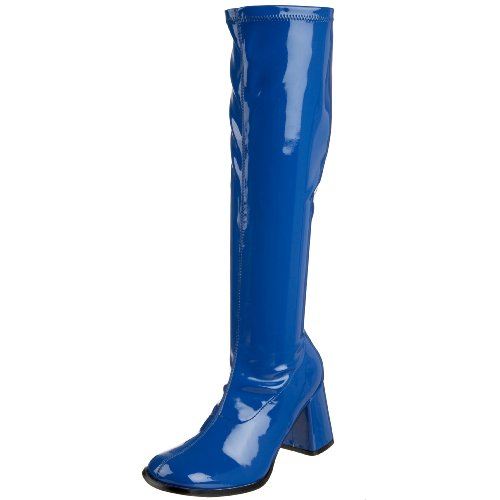 Funtasma by Pleaser Women's Gogo-300 Boot,Navy Blue Stretch Patent,8 (Blue Go Go Boots)