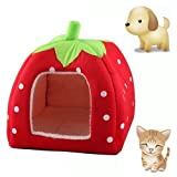 Cute Soft Sponge Strawberry Pet Cat Dog House Bed Warm Cushion Basket – L