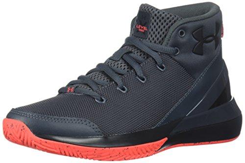 Under Armour Boys' Grade School X Level Ninja Basketball Shoe, Stealth Gray (103)/Neon Coral, 4