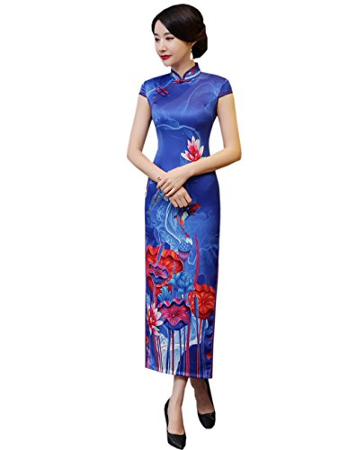 XueXian s Sapphire Blue China Women Maxi Short Cheongsam Bodycon Sleeve Qipao Dress r4qr65w