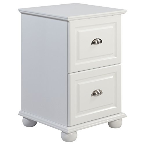 Compact 2 Drawer White Storage File Cabinet with Half-Moon Metal Pulls by I Love Living