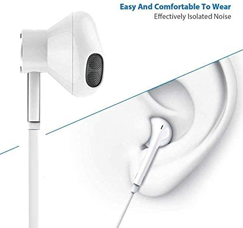 3.5mm in-Ear Wired Noise Cancellation Earbuds/Earphones/Headphones with Remote & Micphone Compatible with iPhone 6s plus/6/5s/5c/Pad/S10 Android All 3.5 mm Audio Devices (2 Pack)-White 41saye3w2qL