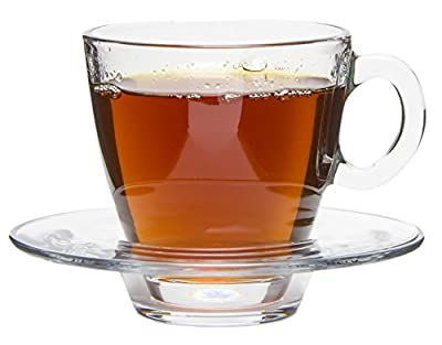 Tesoro Modern Clear Glass Tea/Coffee Cups with Matching Saucers, Set of 6 - 7.25 oz