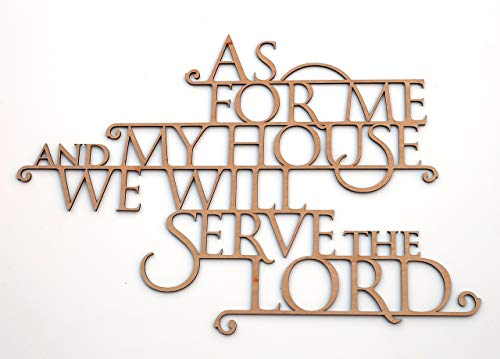 As For Me and My House We Will Serve the Lord - Wooden 3D Wallhanging - Joshua 24:15 - Bible Verse Wall Art Home Decor ()