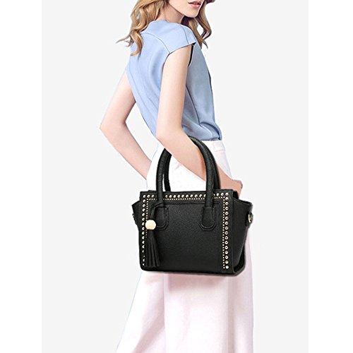 Shoulder Bag Bags Black Handbag Tassel For Handle Lady Fashion Top Satchel Crossbody Women Rivet Leather Pu Tote CpXtqn